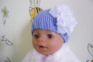 Шапочка спицами для куклы Baby Born