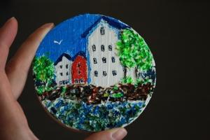 Картина акриловыми красками с использованием текстурной пасты