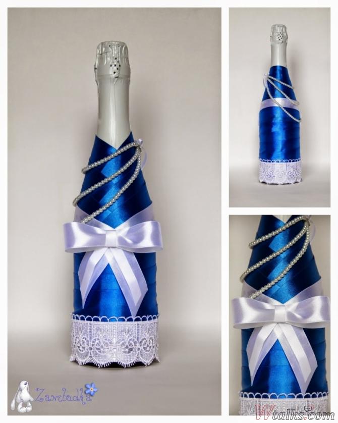 Оформление бутылок своими руками атласными лентами