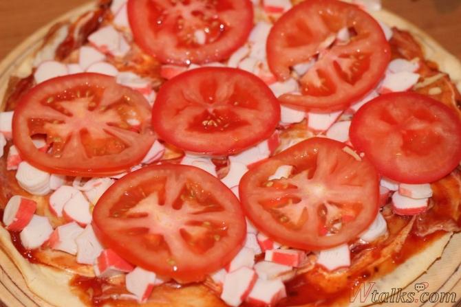 пицца с крабовыми палочками. рецепт