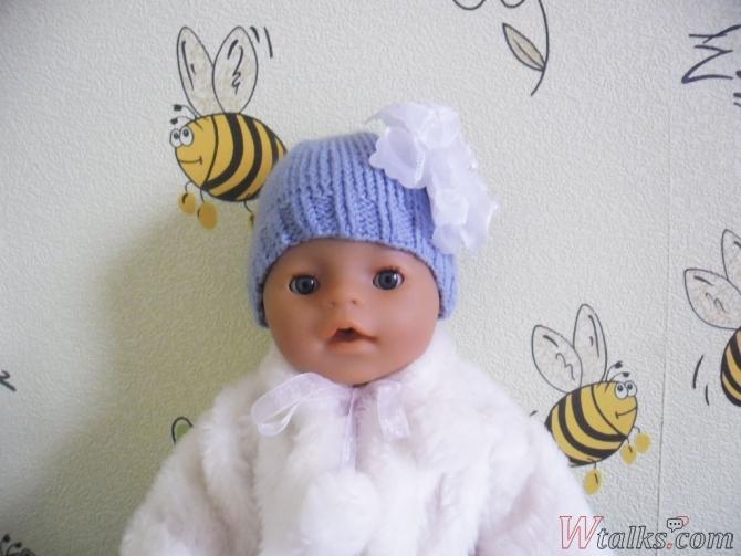 Шапочка спицами для куклы Baby Born шаг 7