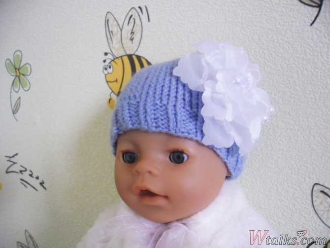 Шапочка спицами для куклы Baby Born шаг 8
