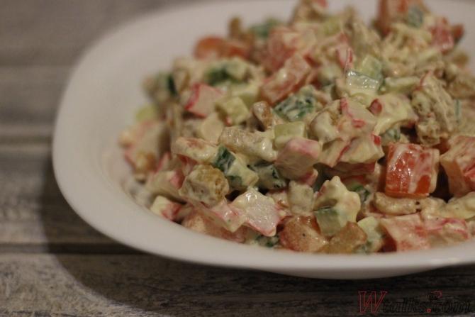 Салат с кириешками крабовыми палочками рецепт с