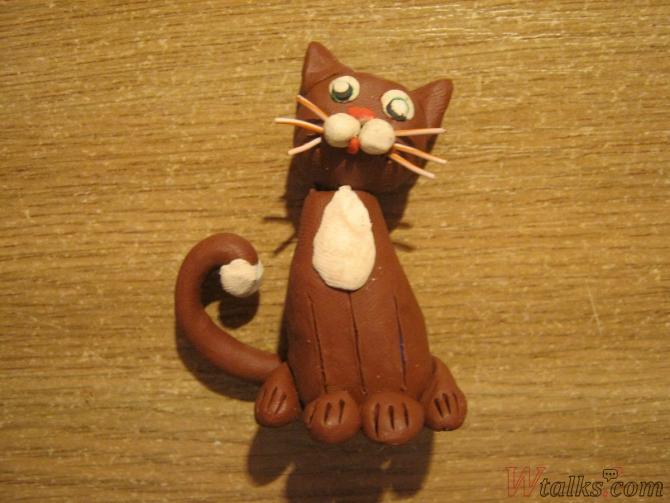Игривый кот из пластилина шаг 19