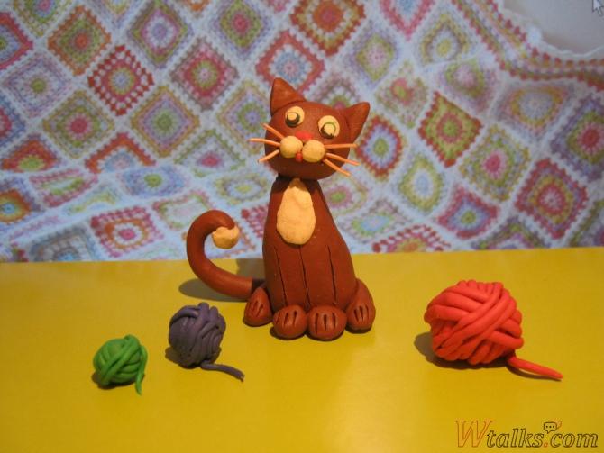 Игривый кот из пластилина шаг 26