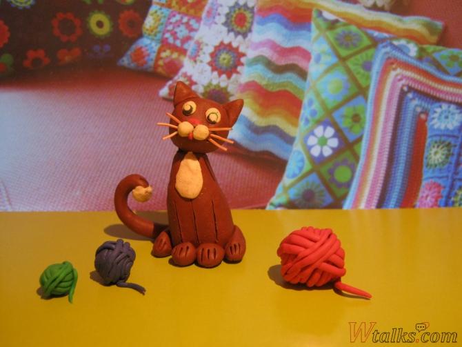 Игривый кот из пластилина шаг 27