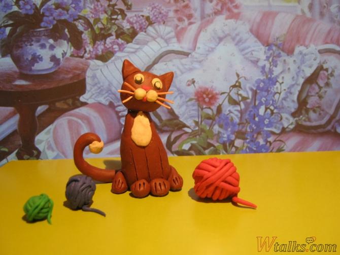 Игривый кот из пластилина шаг 28