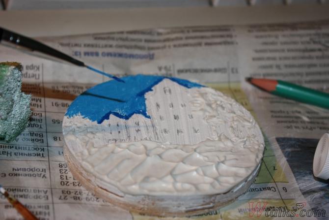 Картина акриловыми красками с использованием текстурной пасты шаг 13