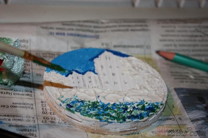 Картина акриловыми красками с использованием текстурной пасты шаг 14