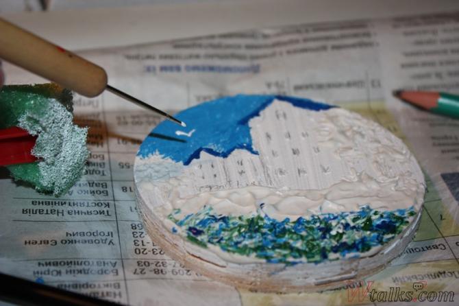 Картина акриловыми красками с использованием текстурной пасты шаг 15