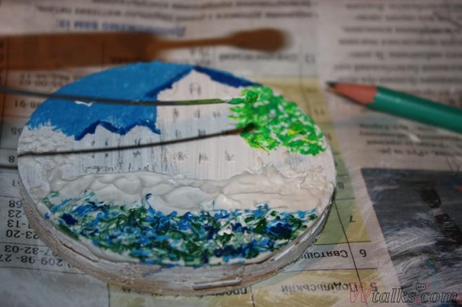 Картина акриловыми красками с использованием текстурной пасты шаг 16