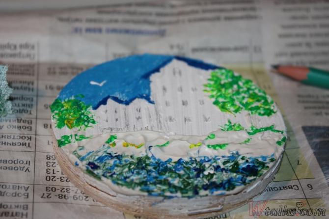 Картина акриловыми красками с использованием текстурной пасты шаг 17