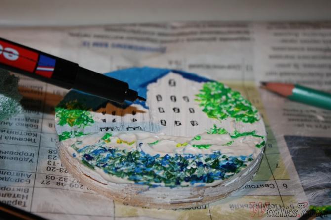 Картина акриловыми красками с использованием текстурной пасты шаг 18