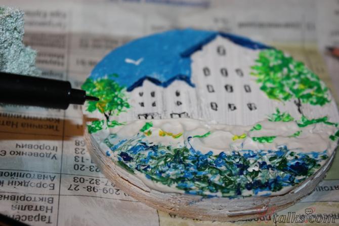 Картина акриловыми красками с использованием текстурной пасты шаг 20