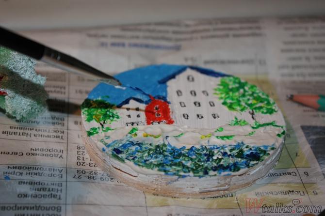 Картина акриловыми красками с использованием текстурной пасты шаг 21
