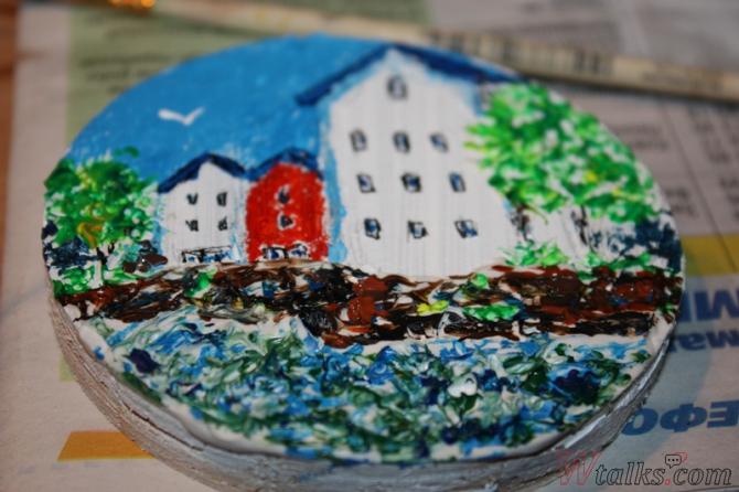 Картина акриловыми красками с использованием текстурной пасты шаг 22