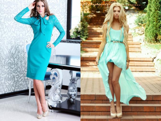 Бирюзовое платье образы