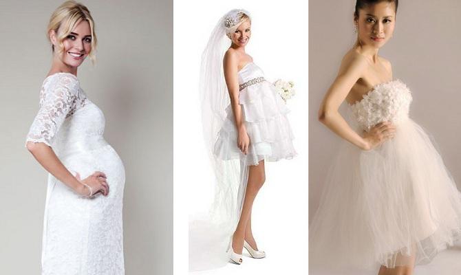 А вот с пышными свадебными платьями для беременных дела обстоят интересно.  Дизайнеры не скупятся на ткань, рюши, складки и многослойные юбки. 94946ef4167