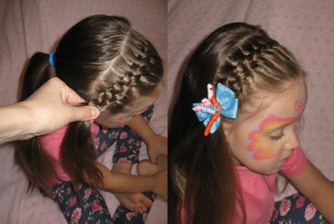 Прическа на 1 сентября на длинные волосы с резинками