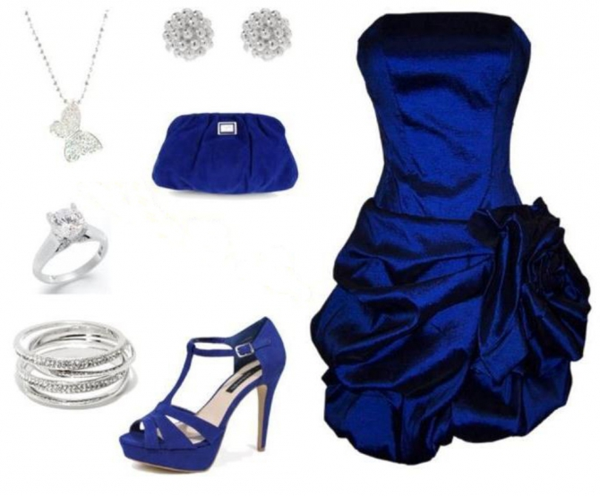 Аксессуары под синие платье