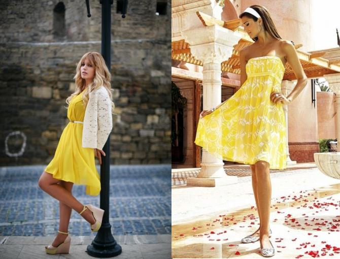 Платье белое с желтым фото